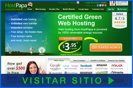 Imagen de pantalla de la página inicial de HostPapa. Haga clic en la imagen para visitar el sitio.