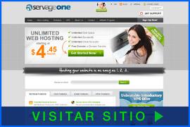 Imagen de pantalla de la página inicial de alojamiento de Servage One. Haga clic en la imagen para visitar el sitio.
