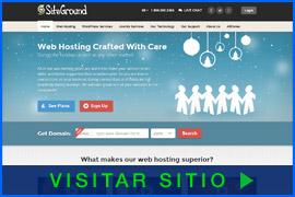 Imagen de pantalla de la pagina inicial de SiteGround. Haga clic en la imagen para visitar el sitio.