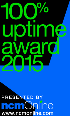 NCM Online 2015 100% Uptime Rating Award logo.