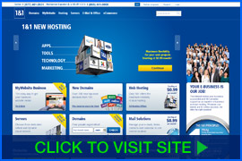 Screenshot of 1&1 homepage. Click image to visit site.