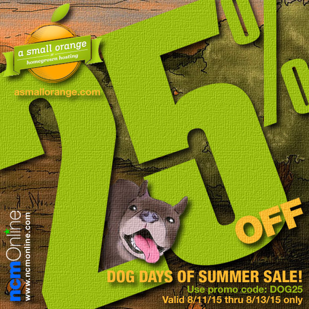 A Small Orange Dog Days of Summer Flash Sale Coupon Code.