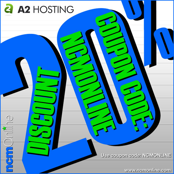 Click for A2 Hosting 20% Discount.