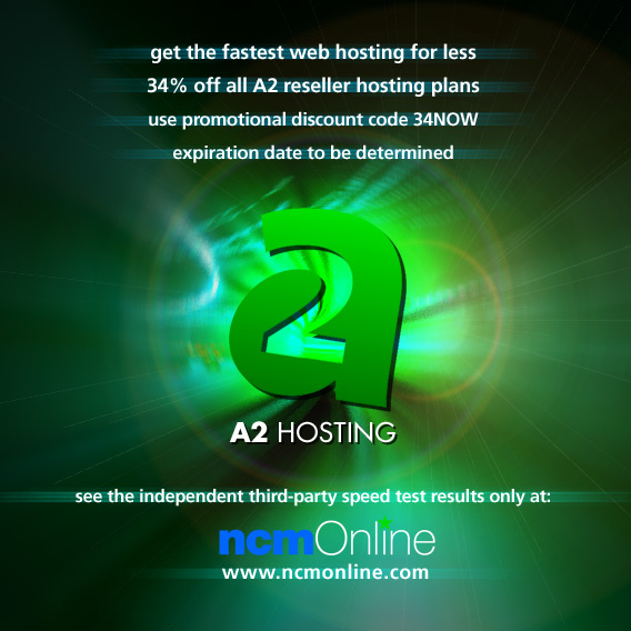 Click for A2 Hosting reseller hosting 34% off promo code.