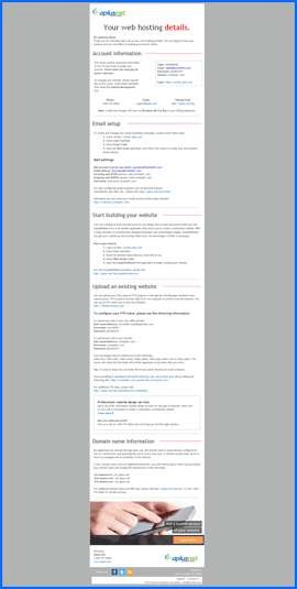 Screenshot of Aplus.net Welcome e-mail. Click to enlarge.