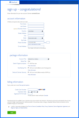 Screenshot of Bluehost shopping cart. Click to enlarge.