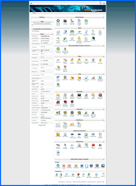 cPanel control panel. Click to enlarge.