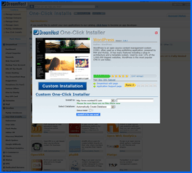 DreamHost 1-click WordPress installer interface. Haga clic para ampliar.