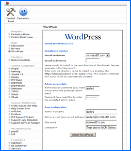 Fantastico Deluxe WordPress installation interface. Click to enlarge.
