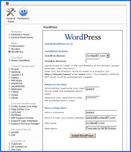 Fantastico Deluxe WordPress installation interface. Haga clic para ampliar.