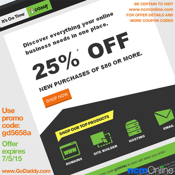 GoDaddy 25% Off Coupon Code.