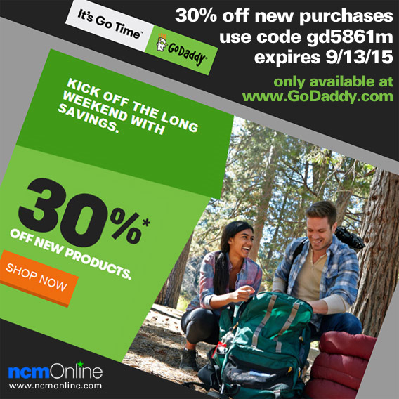 30% Off New GoDaddy Purchases Promo Code.