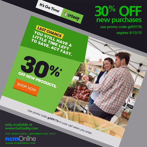 GoDaddy 30% Off New Purchases Coupon Code.