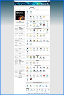 Captura de pantalla de GreenGeeks control panel. Haga clic para ampliar.