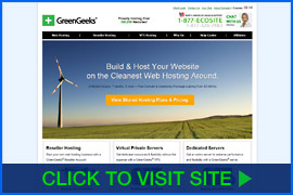 Captura de pantalla de GreenGeeks homepage. Click image to visit site.