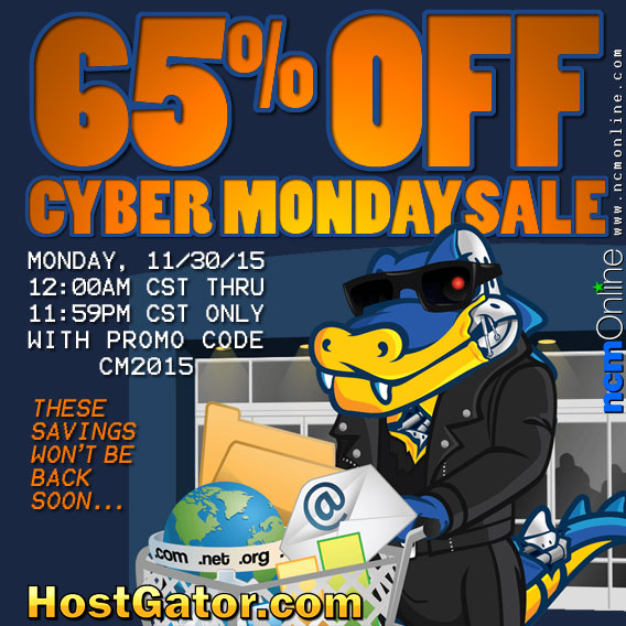 Click to save 65% with HostGator's Cyber Monday Coupon Code.