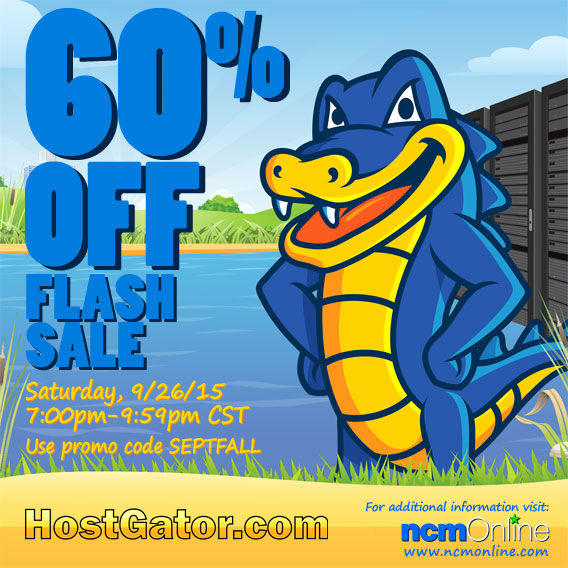 Click for your last chance in September to save 60% on HostGator domain names and web hosting plans.