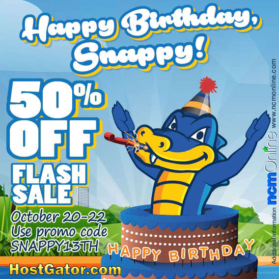 Click to save 50% on HostGator web hosting plans.