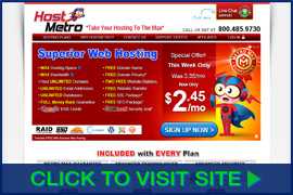 Screenshot of HostMetro homepage. Click image to visit site.