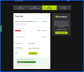 HostNine shopping cart screenshot. Click to enlarge.
