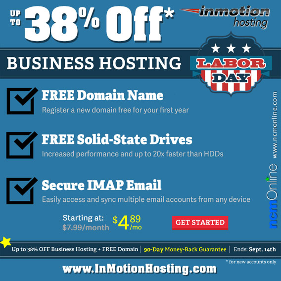 Click for InMotion Hosting business hosting up to 38% off without a promo code.