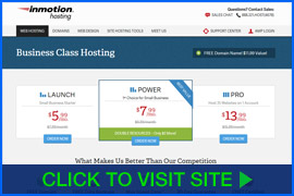 Captura de pantalla de InMotion Hosting homepage. Click image to visit site.