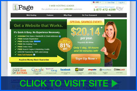 Screenshot of iPage homepage. Click image to visit site.