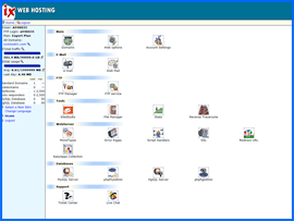 Screenshot of IX Web Hosting control panel. Click to enlarge.