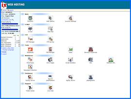 Screenshot of IX Web Hosting control panel. Click to enlarge.