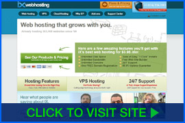 Screenshot of IX Web Hosting homepage. Click image to visit site.