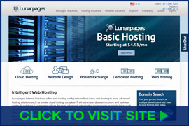Screenshot of Lunarpages homepage. Click image to visit site.