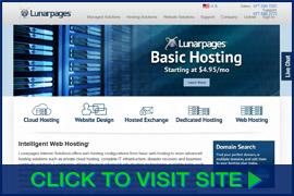 Captura de pantalla de Lunarpages homepage. Click image to visit site.