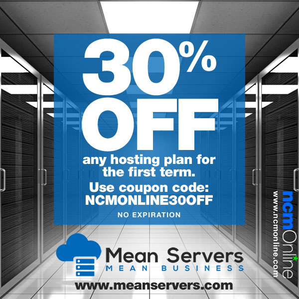 Current and former clients get 30% off at MeanServers on web hosting plans.