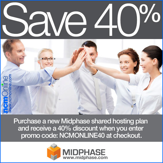 Click for 40% off Midphase shared hosting plans.