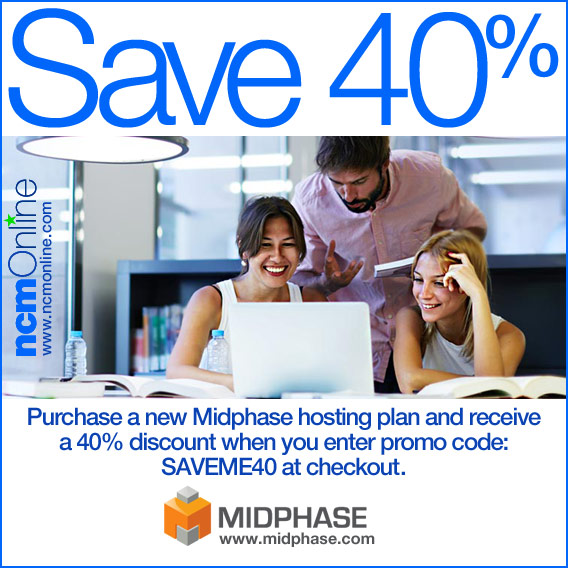 Click for 40% off Midphase web hosting plans.