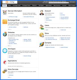 Captura de pantalla de MyHosting.com Parallels control panel. Haga clic para ampliar.