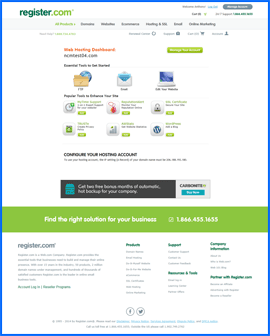 Screenshot of Register.com Web Hosting Dashboard. Click to enlarge.
