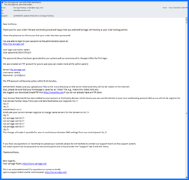 Screenshot of Servage One Welcome e-mail. Click to enlarge.