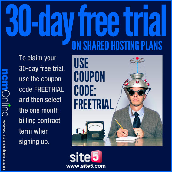 Click for 30-day free trial of any Site5 shared hosting plan.
