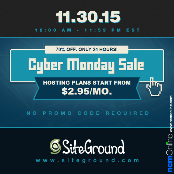 SiteGround Cyber Monday Sale Coupon Code Discount.