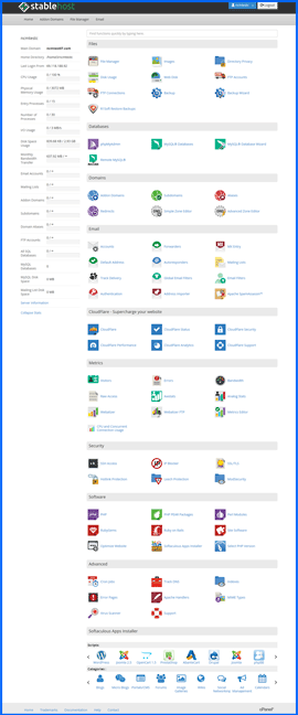 Screenshot of StableHost cPanel control panel. Click to enlarge.