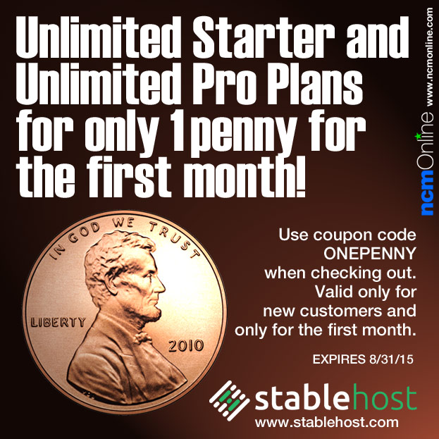 Click for StableHost One Penny Hosting Sale.