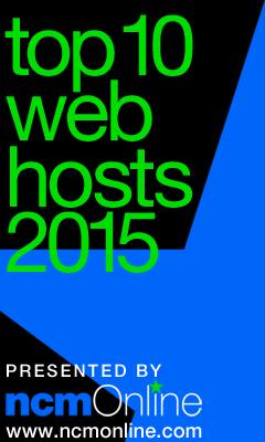 NCM Online 2015 Top 10 Web Hosts logo.
