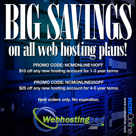 Click for Web Hosting Pad 20% Discount.