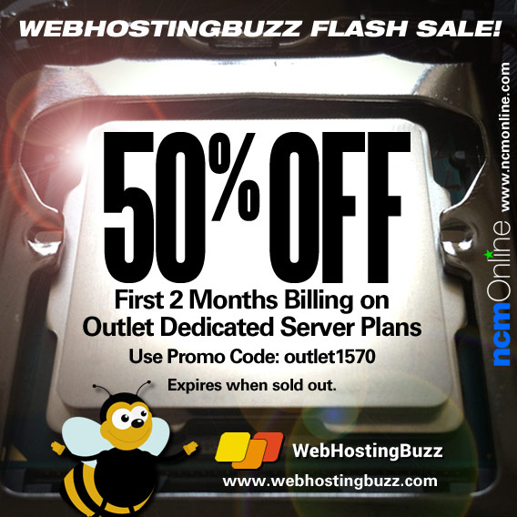 WebHostingBuzz 50% Discount on first two months of Outlet Dedicated Servers.