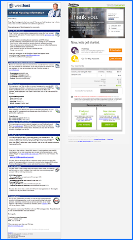 Screenshot of WestHost and GoDaddy Welcome e-mails. Click to enlarge.
