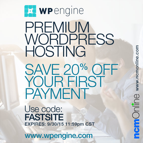 Click for 20% off your first payment for WP Engine Premium WordPress Hosting.