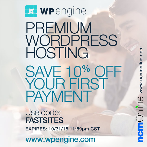 Click for 10% off your first payment for WP Engine Premium WordPress Hosting.