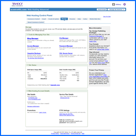 Screenshot of Yahoo Web Hosting Control Panel. Click to enlarge.